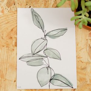 Leaves Line Art Postcard A6